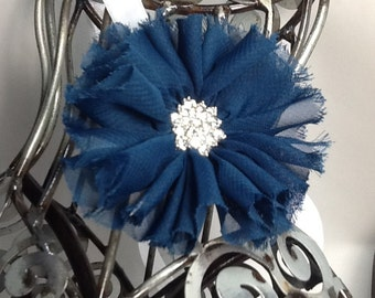 Navy blue headband this headband is a navy blue shabby chic  flower on a white soft headband. Baby headband, girls headband, adult headband