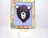 RESERVED FOR SANDY: Black Bear Fused Glass Night Light