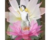 Vintage print, waterlily goddess, photomontage, digital art, burlesque print, pink lotus flowers, black white print, home decor