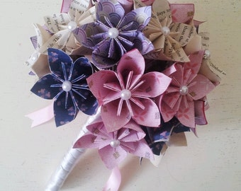 Paper Flower Origami Bridal Wedding Bouquet Daisies Ice Pink Lilac Book Pages