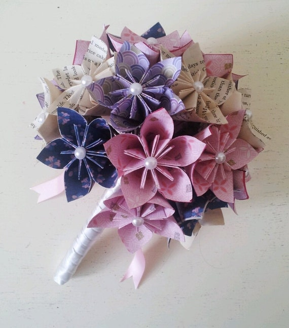 Origami Wedding Flowers: Paper Flower Origami Bridal Wedding Bouquet Daisies Ice