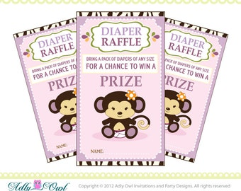 Cocalo Jacana Diaper Raffle Tickets Printables for Baby Girl Shower DIY  - ONLY digital file - you print