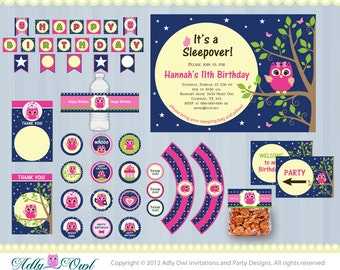 Personalized Girl Night Owl Sleepover, Slumber Birthday Party Printable Collection with pink owl- ONLY digital file - you print