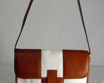 Vintage Laura Biagiotti White with Tan Leather Italian Handbag