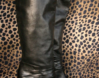 Vintage 80's Black Leather Boots // Gloria Vanderbilt Boots