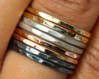 Hammered Mixed Metal Ring Set - Brushed and Oxidized Sterling | Rose and Yellow Gold