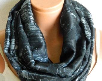 Infinity scarves,Loop Scarf,Circle Scarf,Black,Gray chiffon fabric Scarf,Cowl Scarf,Nomad Cowl.Eternity Scarf