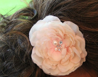 """Large Blush Colored Flower with pearl and crystal cluster detail.  Hair Clip. """"Miranda"""""""
