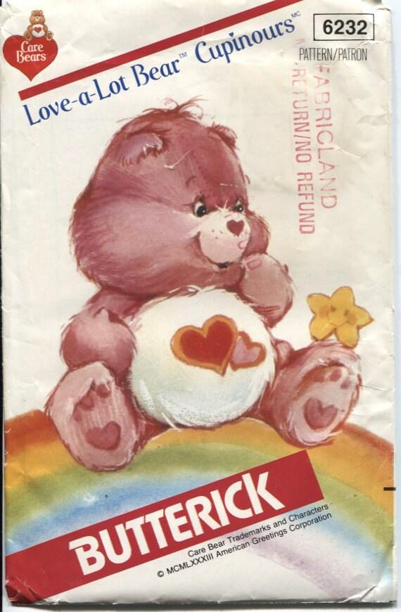 Butterick 6232,  Love A Lot Bear, Care Bears  Sewing Pattern, Uncut