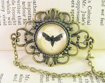 Fancy Moth Necklace, Antique Bronze Moth Necklace, Antique Brass Vintage Style Necklace, Moth Cameo Necklace