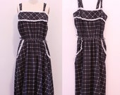 Black and White Window Pane Plaid Western Sundress / Black and White Ruffle Sun Dress with Pockets