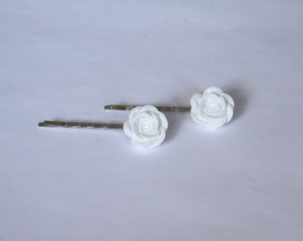 Silver Plated White Rose Hair Clips