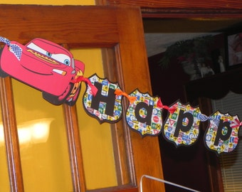 Cars Birthday Banner AND Name Banner - Lightning McQueen - Mater