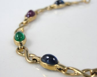 Unusual Cabochon Sapphire, Ruby and Emerald Bracelet in Fine Gold T250J9-D