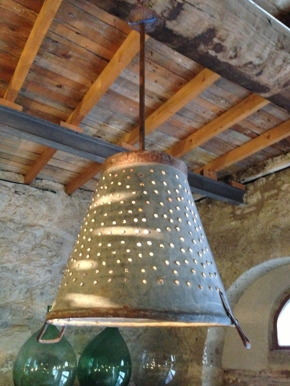 Items Similar To Rustic Metal Olive Bucket Ligthing