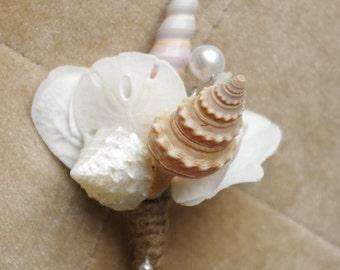 Beach Sand Dollar and Seashell Wedding Boutonniere