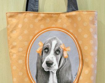 Basset hound tote bag, dog tote bag, the bag, bag, animal gift, animal bag, pet bag, cotton bag, basset hound gift