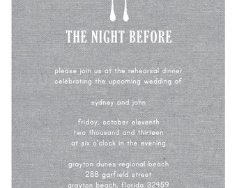 Grey Burlap Rehearsal Dinner Invitation - Electronic Print File for Printing on your Own - Rustic Wedding