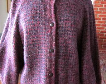 OGNIBENE ZENDMAN Sweater Jacket Cardigan // Elizabeth Arden Salon // fits L // Made in Italy
