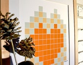 modern geometric heart autumn orange home decor love gift framed art 16x20 40x50 - StudioSuzanna