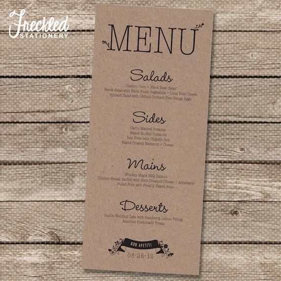 Items similar to wedding menu printable pdf garden for Menu reception amis