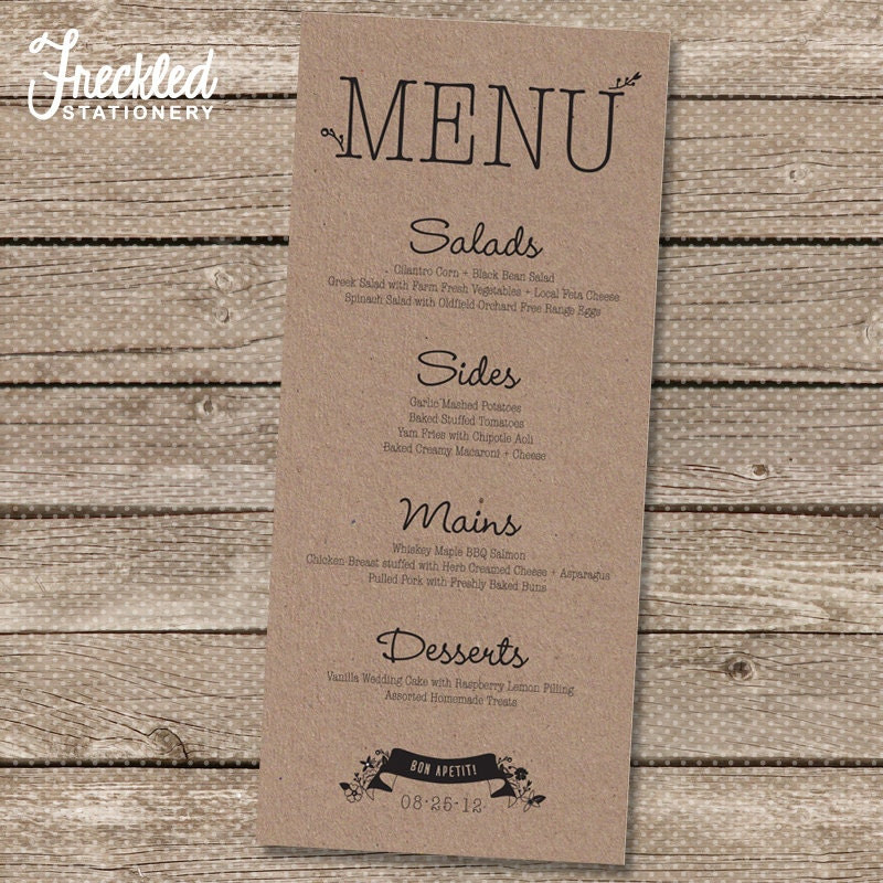 This is a picture of Geeky Printable Wedding Menus