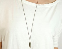 DRAGON TOOTH Necklace // Pyrite Tusk on Simple Long Chain // Long Tusk Necklace // Boho Layering Chain // Extra Long necklace option
