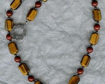 Mommy Deerest - Carved Succor Creek Jasper Deer Pendant,  Red Jasper, Tiger's Eye, Hematite, Sterling Silver Necklace
