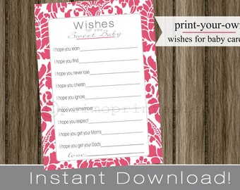 Well Wishes for Baby girl cards baby shower fuchsia pink damask INSTANT DOWNLOAD diy printable file print your own , babyshower
