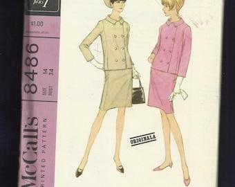 Vintage 1966 McCalls 8486 Designer Originala Double Breasted Jacket & Pencil Skirt Size 14 UNCUT