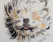 "Chicken Scratch ""Old English Sheepdog"" Ink and Watercolor 9X12 Original"