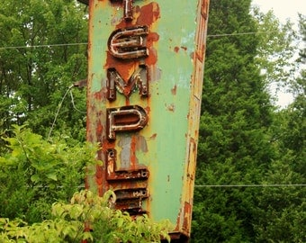 8x10 photograph Rusted Temple Drive In Sign, Tower City, PA