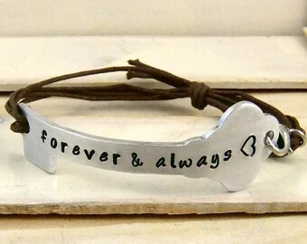Forever & Always, Key Bracelet, Hand Stamped Bracelet, Personalized Gift