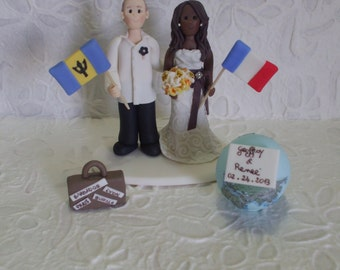 Customized bride and groom travel wedding cake topper