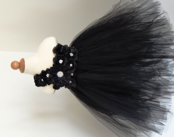 Black Flower Girl Dress.... Birthday Tutu Dress.... Tutu Dress
