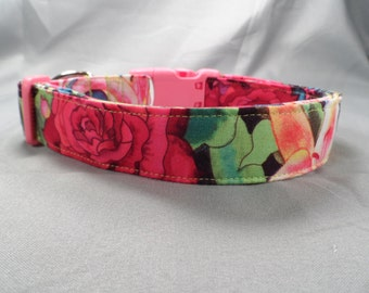 Bright Rose and Lily Dog Collar