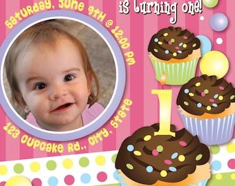 Cupcake Girl Customizable Birthday Invitation, digital printable 5x7 file