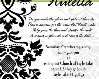 Damask and Lime Green Customizable Bridal Shower Invitation, digital printable 5x7 file