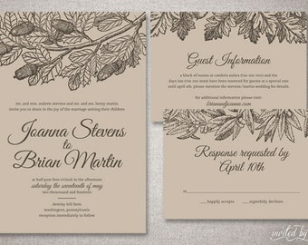 "Botanical Kraft Paper ""Joanna"" Wedding Invitation Suite - Illustrated Nature Invitations - Custom DIY Digital Printable or Printed Invite"