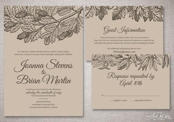 botanische kraft papier joanna hochzeit einladung, Einladung
