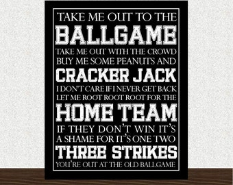 Baseball Subway Art INSTANT DOWNLOAD - Take Me Out to the Ballgame - 8x10 - Digital Printable JPEG