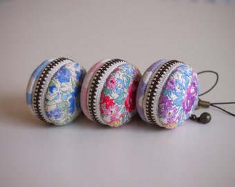 3.5cm, Macaron Coin Purse/Macaroon/ Zipper Pouch - Full of Flower, Blue/Pink/Purple - Handmade in Japan by Chikaberry