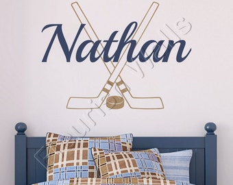 Hockey Wall Decal Personalized With Name Hockey Sticks And Hockey Puck Athletic Sports Vinyl Wall Decal Boys Room Wall Art BN027