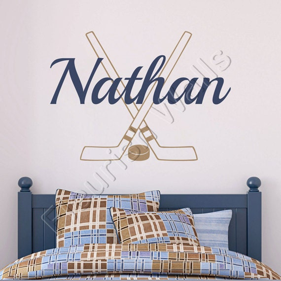 Hockey Wall Decal Personalized With Name Hockey Sticks And
