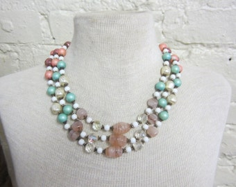 SALE Venetian Glass and Milk Glass Necklace Very Pretty Vintage 1940 Pastel Beads Rare