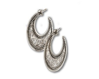 filigree-lacy hoop earrings in sterling silver  medium size
