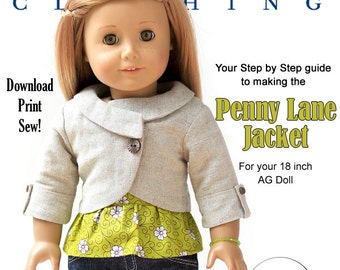 Pixie Faire Liberty Jane Penny Lane Jacket Doll Clothes Pattern for 18 inch American Girl Dolls - PDF