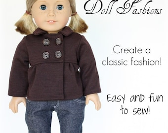 Pixie Faire Heritage Doll Fashions Empire Peacoat Doll Clothes Pattern for 18 inch American Girl Dolls - PDF
