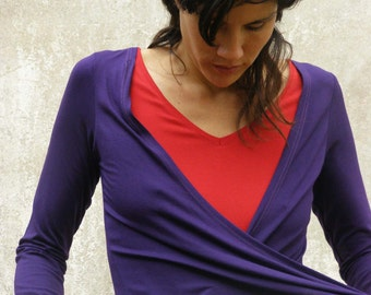 Purple Long sleeves top-Purple wrap top-Purple blouse-Made to order-Wrap shirt-Womens clothing