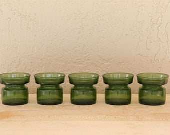 Set of 5 Green Glass Votive Candle Holders by Dansk Designs